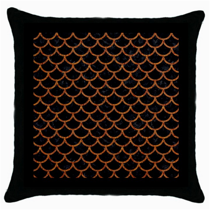 SCALES1 BLACK MARBLE & RUSTED METAL (R) Throw Pillow Case (Black)