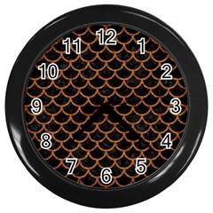Scales1 Black Marble & Rusted Metal (r) Wall Clocks (black)