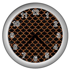 Scales1 Black Marble & Rusted Metal (r) Wall Clocks (silver)