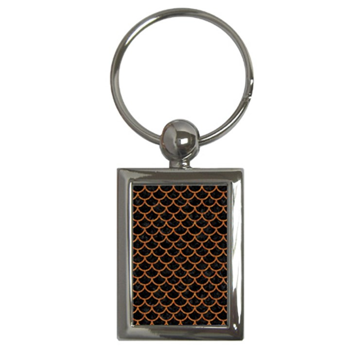 SCALES1 BLACK MARBLE & RUSTED METAL (R) Key Chains (Rectangle)