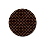 SCALES1 BLACK MARBLE & RUSTED METAL (R) Rubber Round Coaster (4 pack)  Front