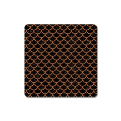 Scales1 Black Marble & Rusted Metal (r) Square Magnet