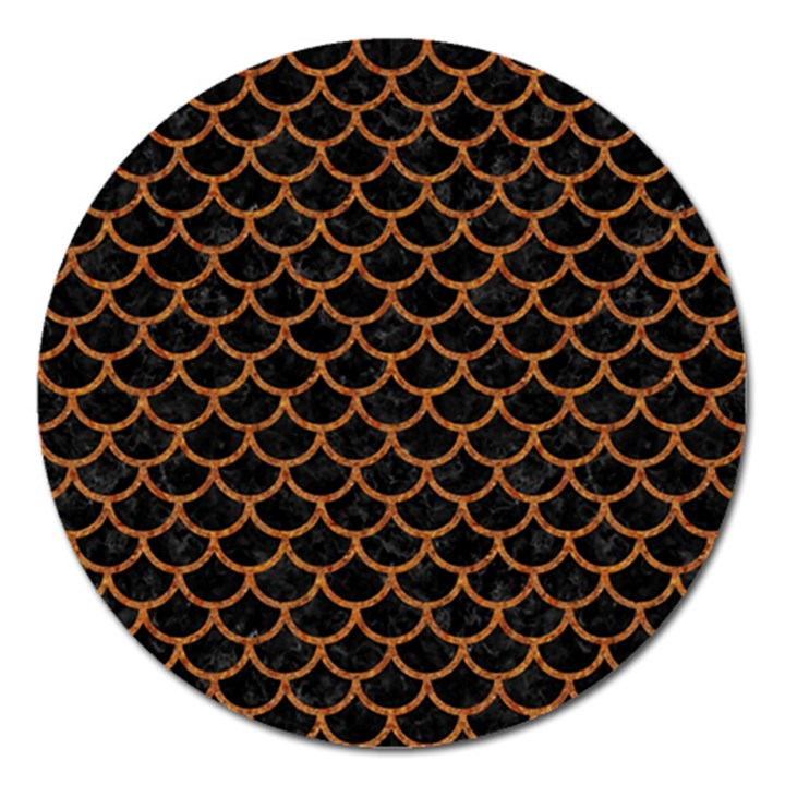 SCALES1 BLACK MARBLE & RUSTED METAL (R) Magnet 5  (Round)