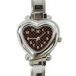 SCALES1 BLACK MARBLE & RUSTED METAL (R) Heart Italian Charm Watch Front