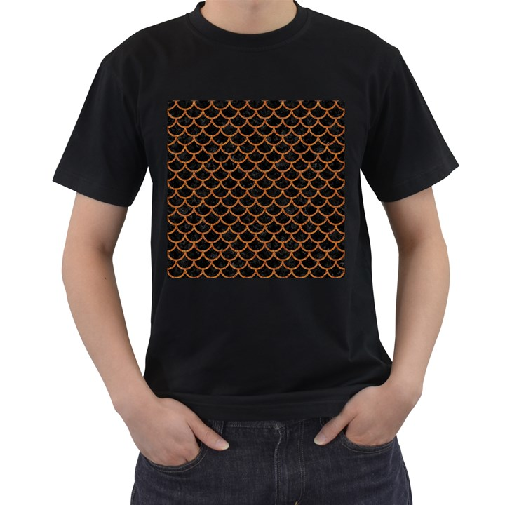 SCALES1 BLACK MARBLE & RUSTED METAL (R) Men s T-Shirt (Black) (Two Sided)