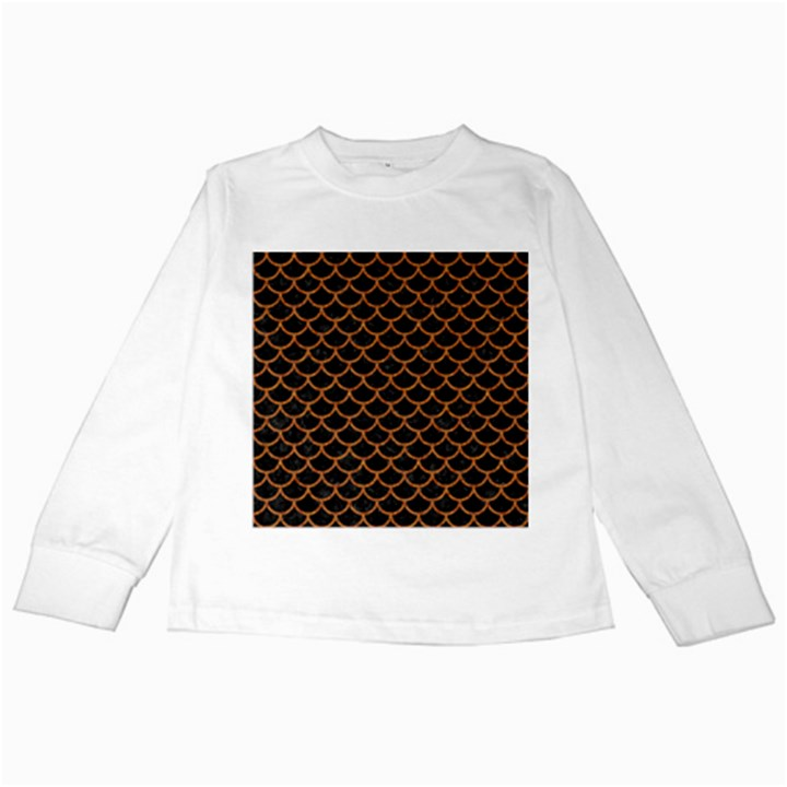 SCALES1 BLACK MARBLE & RUSTED METAL (R) Kids Long Sleeve T-Shirts