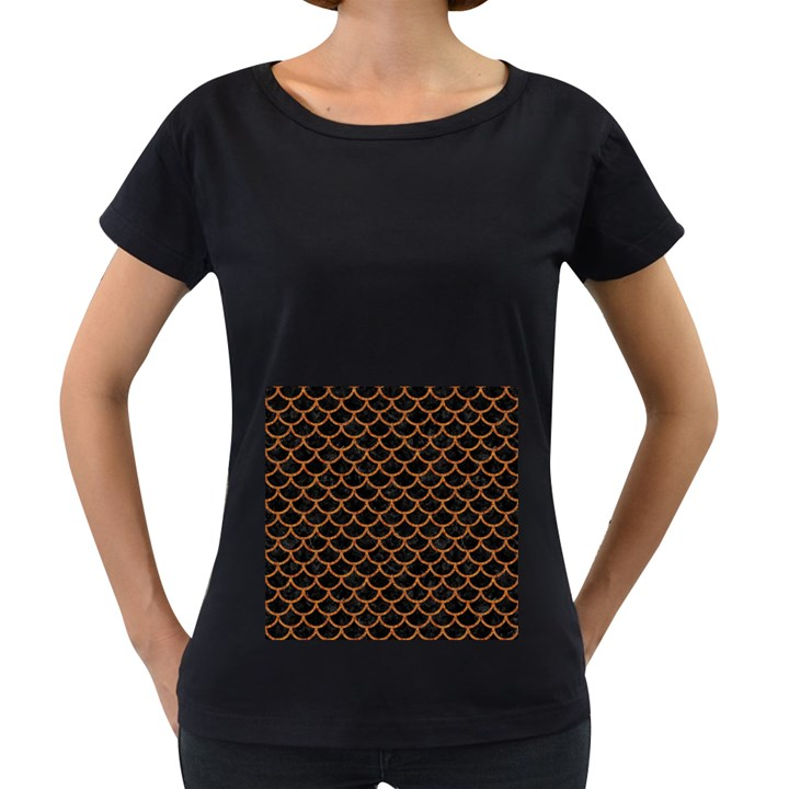 SCALES1 BLACK MARBLE & RUSTED METAL (R) Women s Loose-Fit T-Shirt (Black)