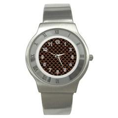 Scales1 Black Marble & Rusted Metal (r) Stainless Steel Watch