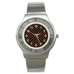 SCALES1 BLACK MARBLE & RUSTED METAL (R) Stainless Steel Watch Front