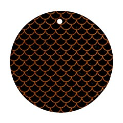 Scales1 Black Marble & Rusted Metal (r) Round Ornament (two Sides)