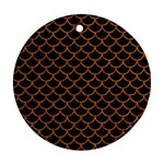 SCALES1 BLACK MARBLE & RUSTED METAL (R) Round Ornament (Two Sides) Front