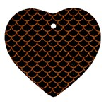 SCALES1 BLACK MARBLE & RUSTED METAL (R) Heart Ornament (Two Sides) Front