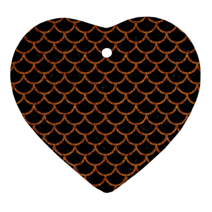SCALES1 BLACK MARBLE & RUSTED METAL (R) Heart Ornament (Two Sides)