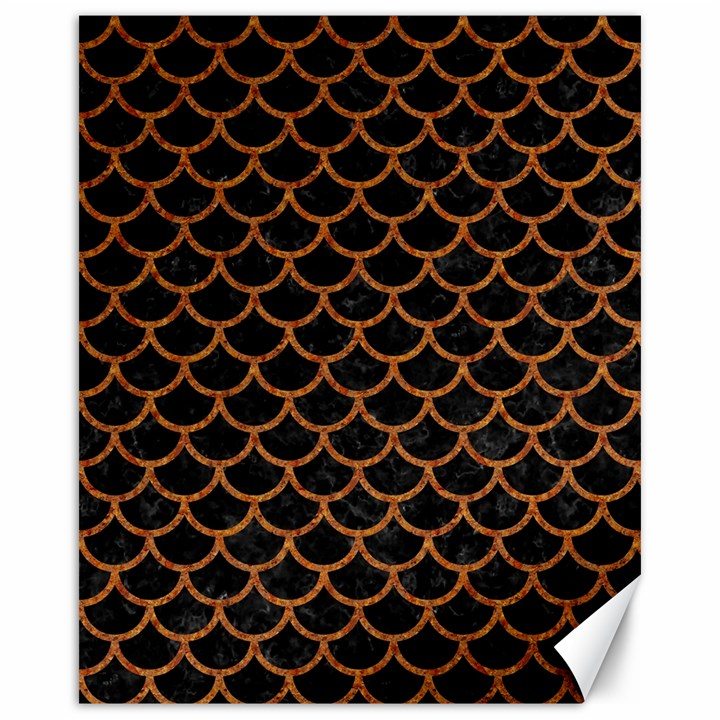 SCALES1 BLACK MARBLE & RUSTED METAL (R) Canvas 16  x 20