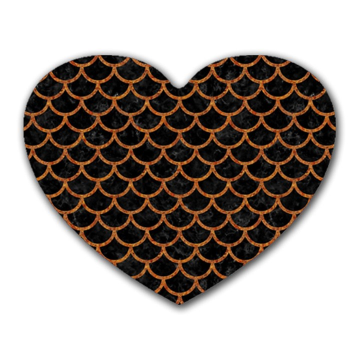 SCALES1 BLACK MARBLE & RUSTED METAL (R) Heart Mousepads