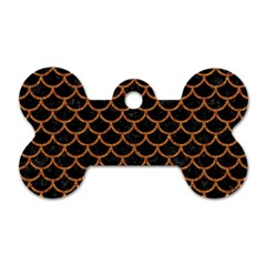Scales1 Black Marble & Rusted Metal (r) Dog Tag Bone (two Sides)