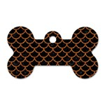 SCALES1 BLACK MARBLE & RUSTED METAL (R) Dog Tag Bone (Two Sides) Front