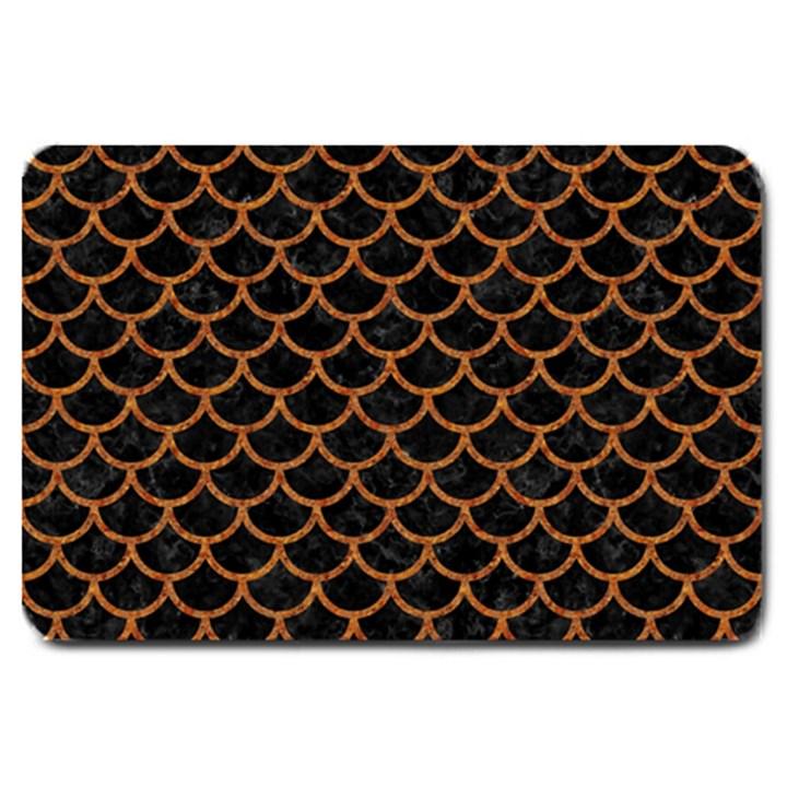 SCALES1 BLACK MARBLE & RUSTED METAL (R) Large Doormat