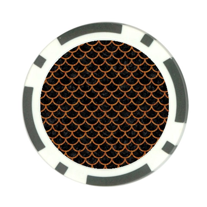 SCALES1 BLACK MARBLE & RUSTED METAL (R) Poker Chip Card Guard (10 pack)