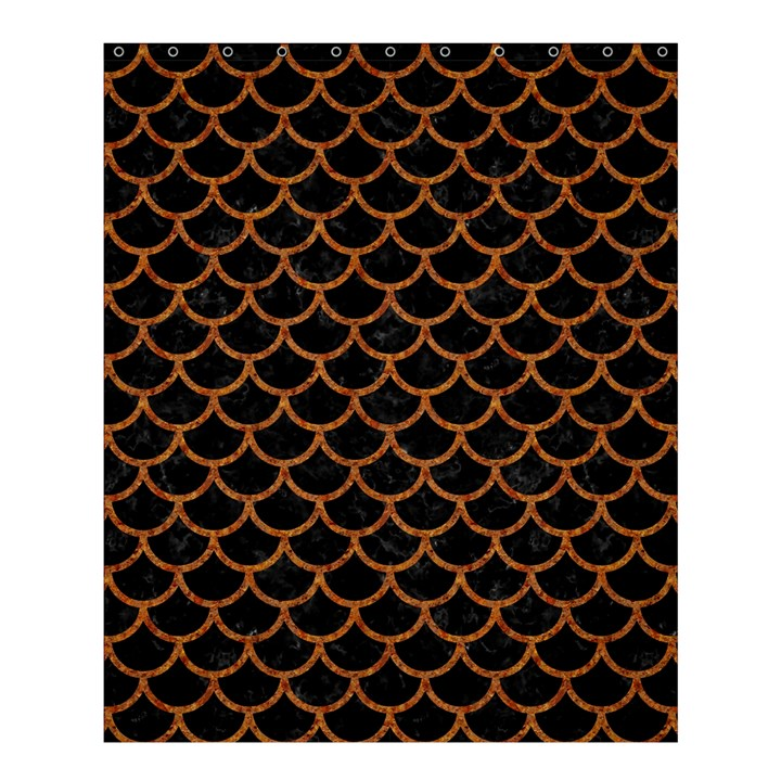SCALES1 BLACK MARBLE & RUSTED METAL (R) Shower Curtain 60  x 72  (Medium)