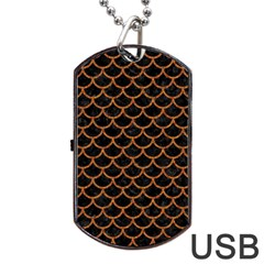 Scales1 Black Marble & Rusted Metal (r) Dog Tag Usb Flash (two Sides)