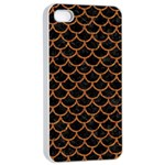 SCALES1 BLACK MARBLE & RUSTED METAL (R) Apple iPhone 4/4s Seamless Case (White) Front