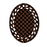 SCALES1 BLACK MARBLE & RUSTED METAL (R) Ornament (Oval Filigree) Front