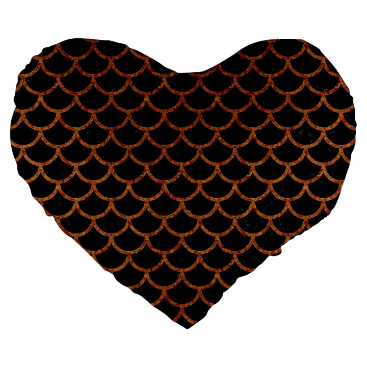 SCALES1 BLACK MARBLE & RUSTED METAL (R) Large 19  Premium Heart Shape Cushions