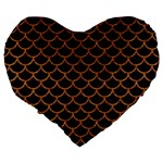 SCALES1 BLACK MARBLE & RUSTED METAL (R) Large 19  Premium Heart Shape Cushions Back