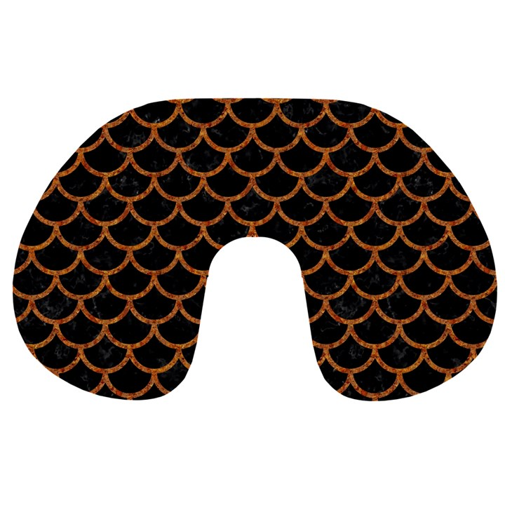 SCALES1 BLACK MARBLE & RUSTED METAL (R) Travel Neck Pillows