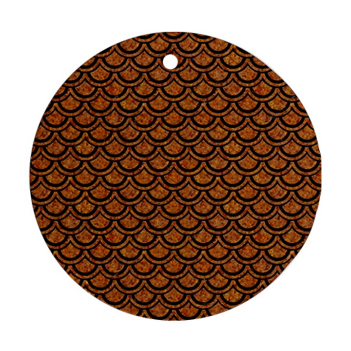 SCALES2 BLACK MARBLE & RUSTED METAL Ornament (Round)