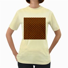 Scales2 Black Marble & Rusted Metal Women s Yellow T Shirt