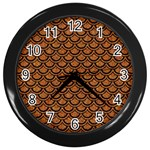 SCALES2 BLACK MARBLE & RUSTED METAL Wall Clocks (Black) Front