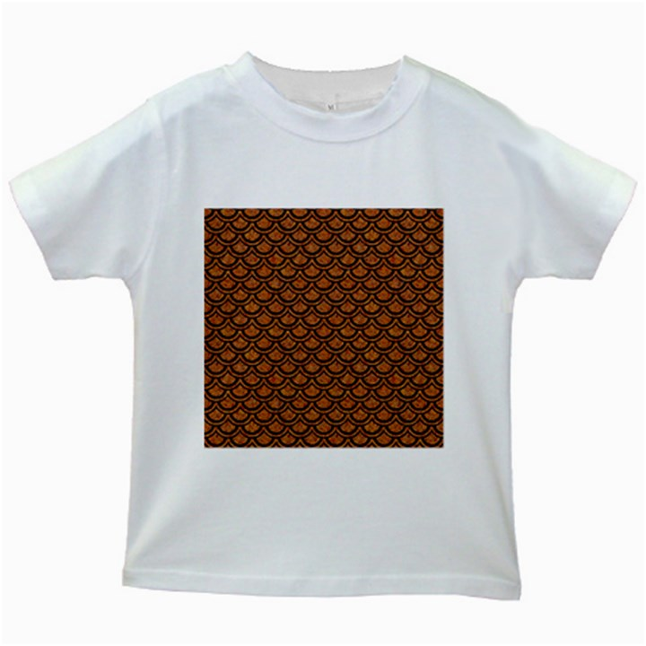 SCALES2 BLACK MARBLE & RUSTED METAL Kids White T-Shirts