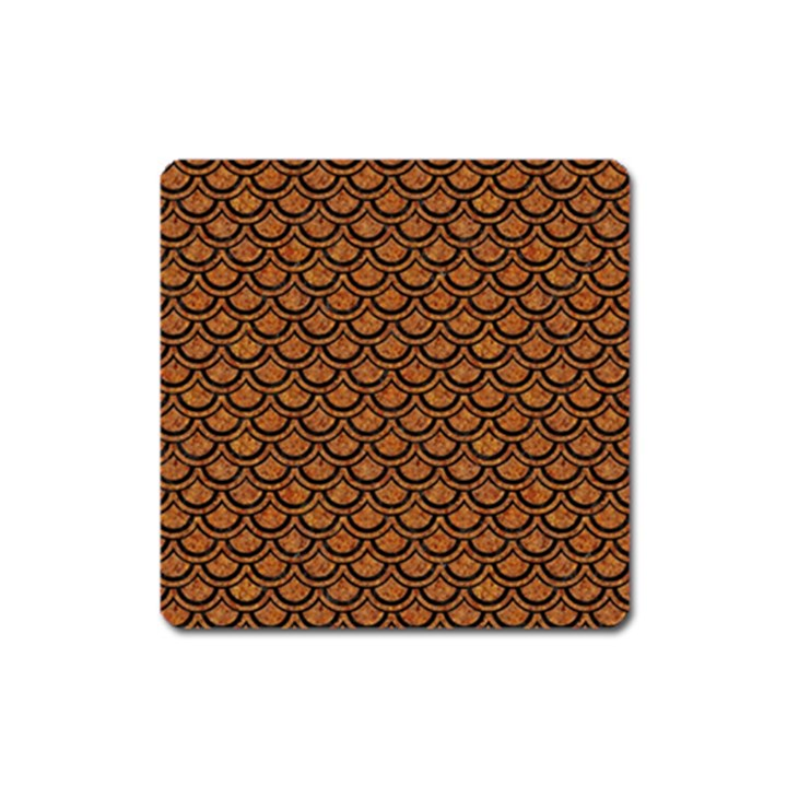 SCALES2 BLACK MARBLE & RUSTED METAL Square Magnet