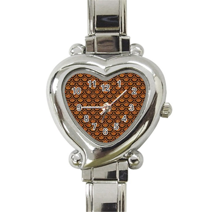 SCALES2 BLACK MARBLE & RUSTED METAL Heart Italian Charm Watch
