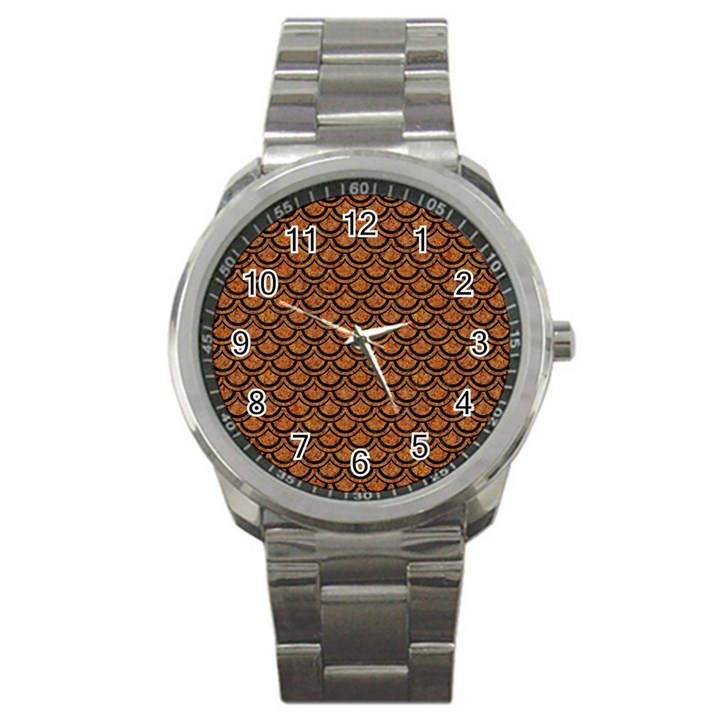 SCALES2 BLACK MARBLE & RUSTED METAL Sport Metal Watch