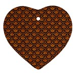 SCALES2 BLACK MARBLE & RUSTED METAL Heart Ornament (Two Sides) Front