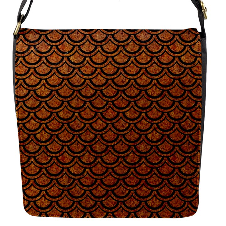 SCALES2 BLACK MARBLE & RUSTED METAL Flap Messenger Bag (S)