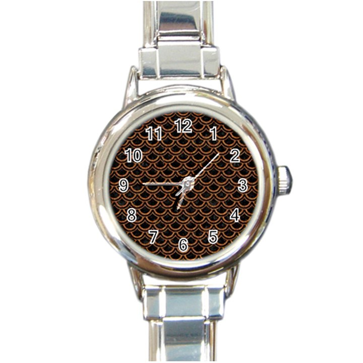 SCALES2 BLACK MARBLE & RUSTED METAL (R) Round Italian Charm Watch