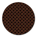 SCALES2 BLACK MARBLE & RUSTED METAL (R) Round Mousepads Front