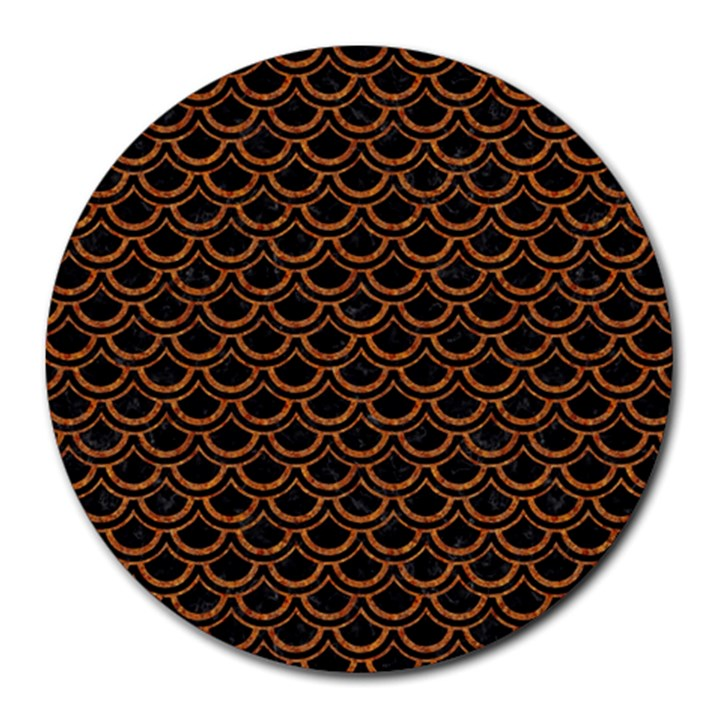 SCALES2 BLACK MARBLE & RUSTED METAL (R) Round Mousepads