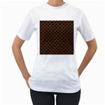 SCALES2 BLACK MARBLE & RUSTED METAL (R) Women s T-Shirt (White) (Two Sided) Front