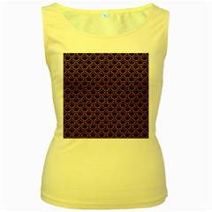 Scales2 Black Marble & Rusted Metal (r) Women s Yellow Tank Top