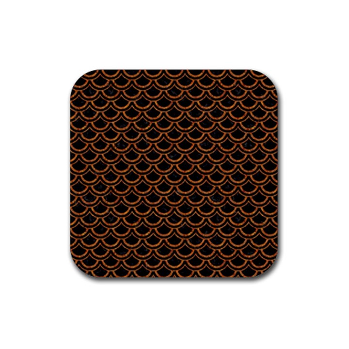 SCALES2 BLACK MARBLE & RUSTED METAL (R) Rubber Square Coaster (4 pack)