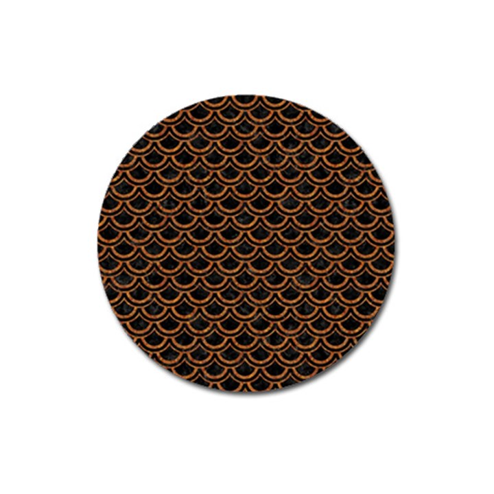 SCALES2 BLACK MARBLE & RUSTED METAL (R) Magnet 3  (Round)