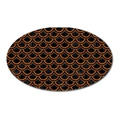 Scales2 Black Marble & Rusted Metal (r) Oval Magnet