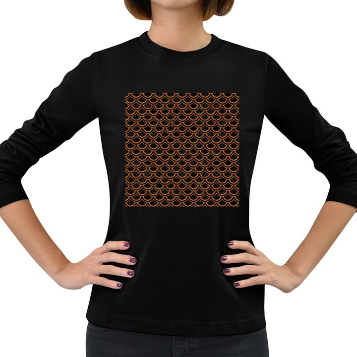 SCALES2 BLACK MARBLE & RUSTED METAL (R) Women s Long Sleeve Dark T-Shirts