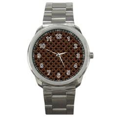 Scales2 Black Marble & Rusted Metal (r) Sport Metal Watch