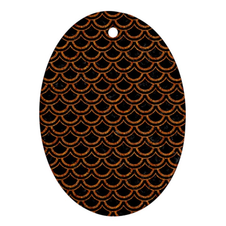 SCALES2 BLACK MARBLE & RUSTED METAL (R) Oval Ornament (Two Sides)